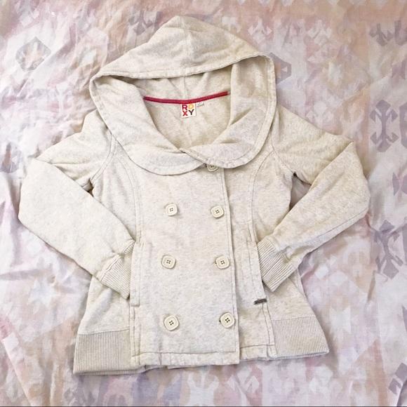 Roxy Jackets & Blazers - Roxy Double Breasted, Hooded Sweatshirt Jacket